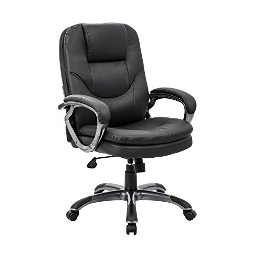 KADIRYA Bonded Leather Office Chair with Double Layer Padding Cushion Adjustable Tilt Angle, Computer Desk Chair - Widened Headrest for Comfort and Ergonomic Design for Lumbar Support - Angle Office Chair