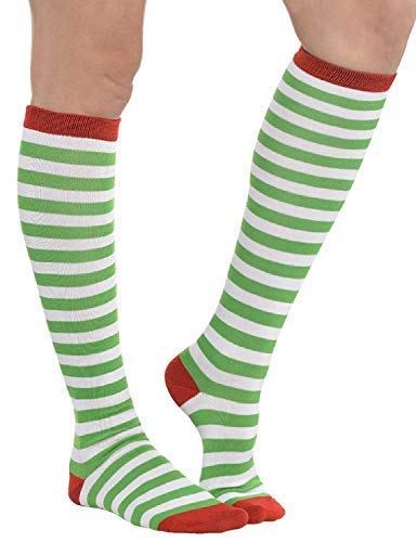 Adults Ladies Mens Green & White Striped Knee