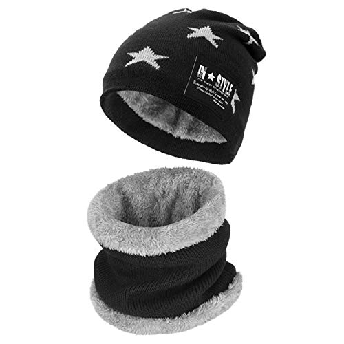 Stars Black Beanie - Maylisacc Winter Knitted Beanie Hat and Neck Warmer Scarf Set 2 Pcs for Kids Boy Girl (Star - Black)