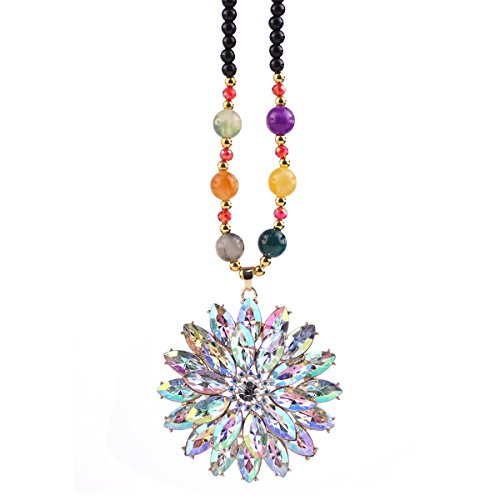 (Gexo Long Bead Necklace for women Created Crystal Flower Shape Pendant-Mutil-color Necklace Bohemian style Fashion Jewelry)