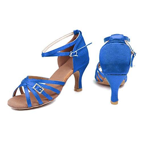 HROYL Zapatos de baile/Zapatos latinos de satén mujeres ES7-F19 Azul