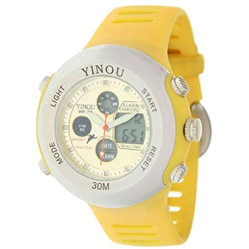 YINOU - Reloj Caballero Analógido-Digital - Alarma Crono Luz - Amarillo: Amazon.es: Relojes