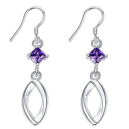 Fendina Womens Classic Linear Loops Design Silver Earrings Princess Cut Purple Cubic Zirconia