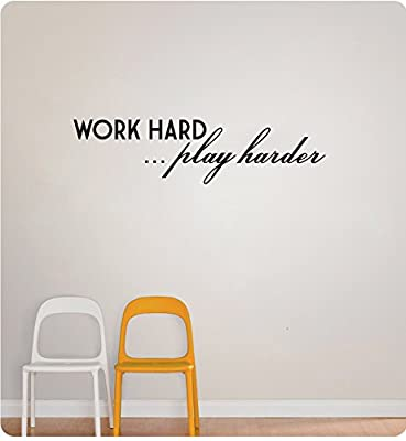 """40"""" Work Hard Play Harders Sports Games Motivation Wall Decal Sticker Art Mural Home Décor Quote"""