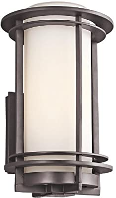 Kichler Lighting 49345AZ Pacific Edge 1-Light Exterior Wall Mount, Architectural Bronze Finish with Satin Etched Cased Opal Glass