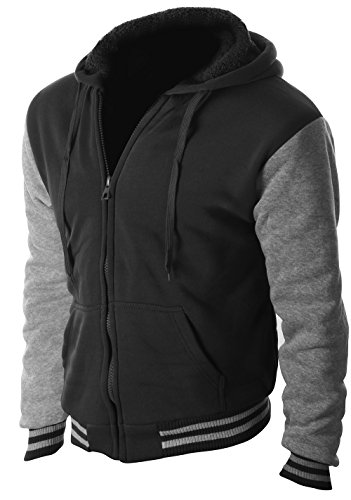 Enimay Full Zipper Hooded Sweater Pull-Over with Sherpa-Lined Fleece Letterman Black & Grey Large - Fur Hooded Sweater