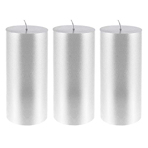 Mega Candles 3 pcs Unscented Silver Round Pillar Candle | Hand Poured Premium Wax Candles 3
