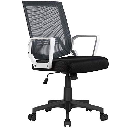 Yaheetech Silla de Oficina Silla Malla Silla Giratoria para Trabajo Altura Ajustable Silla Escritorio Gris