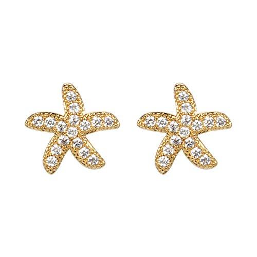 Pendientes chapados en oro de 18 k - aretes de estrella de mar de cristal de zirconia cúbica