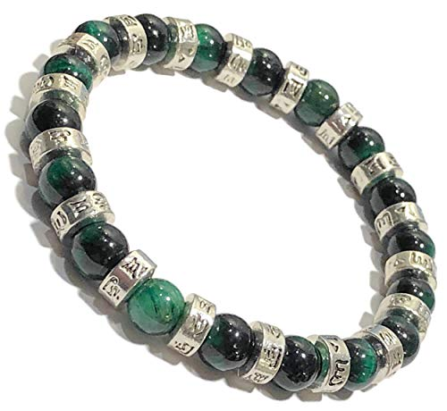 Buddhist Mantra | Om Mani Padme Hum Mantra Prayer Wheels | Meditation Self-Care Mantra Wristband Yoga Spiritual Jewelry | Omni | Green Tiger Eye (6.5)