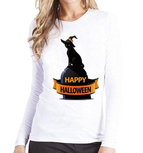 Srogem Womens Tops Women's Long Sleeve O Neck Loose Blouse Shirt Halloween Printed Raglan Top Tee (L, Black)