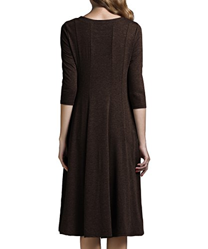 Midi Pocket 3 and with 4 A Flare Yige line Women's Sleeve Dress Coffee Long UTqwxn578