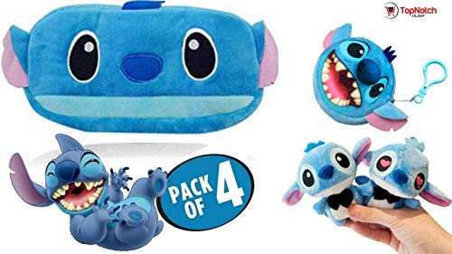 Huggable Kit - Pencil Pouch - Stitch Pencil Case - Change Purse (4 Pack) Kids Call This The Stitch Survival Kit - Plush Keychain - Plush Pencil Case