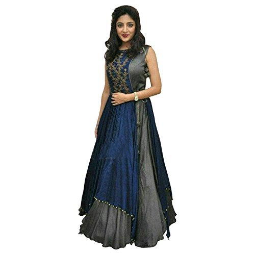 08fc66b9fc Dhyey fashion Women's Taffeta Silk Embroidered Semi-Stitched Indo-Western  Gown: Amazon.in: Clothing & Accessories