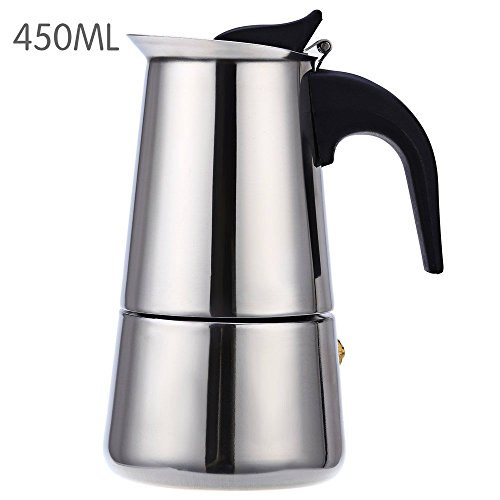 Stainless Steel Coffee Percolator Mocha Espresso Latte Coffee Maker Coffee Pot(9 cup/450ml)