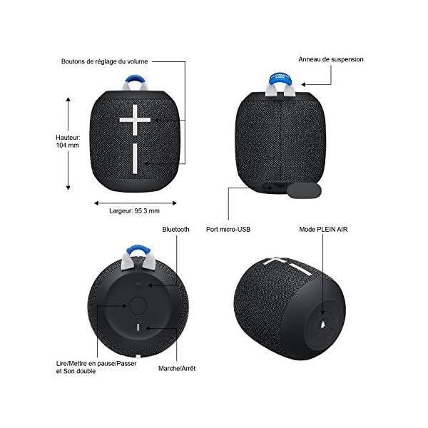 ULTIMATE EARS WONDERBOOM 2, Enceinte Portable Bluetooth Sans Fil, Son à 360 Degrés avec Basses Puissantes, Étanche / Anti-Poussière IP67, Capacité à Flotter, Portée de 30 Mètres - Deep Space Black 6