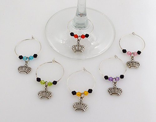 Crown Wine Glass Charms - 6 Piece Cocktail Drink Charm Set in Black Velour Gift (About Ready For The Costume Party Vine)