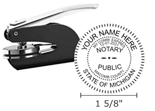 Notary Seal - Michigan Notary Seal Embosser, Pocket/Hand Model, 1-5/8