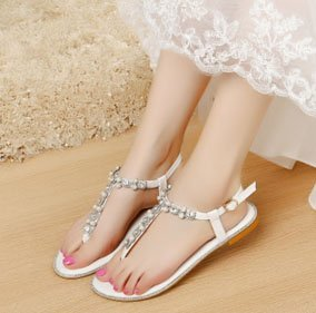 Picture of LUXVEER Beach Wedding Shoes, Women Bead Crystals Beach Flat Bride Wedding Dress Sandals for Party