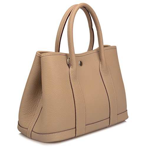 Qidell Women's Genuine Leather Tote Bag Top Handle Handbags (Small, Taupe)