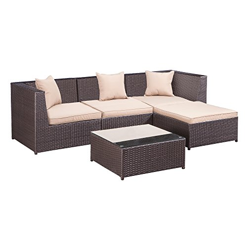Palm Springs Outdoor 5 pc Furniture Wicker Patio Set w/Chairs, Table & - Palm Wicker Springs