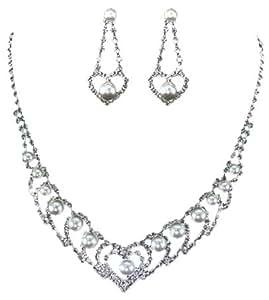 Collar con colgante en forma de corazón de cristal de diseño de ángel Pearl PreciousBags con Juego de pendientes de juego de bolsa de aspirador