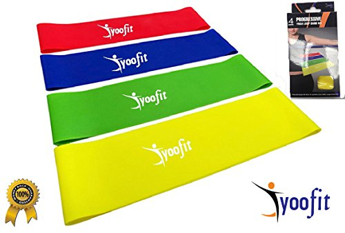 Yoofit Resistance Loop Bands Set of 4 - WIDER LARGER 12'x3' Inches Physical Therapy Band for Arms and Legs, CrossFit Workouts, Stretching or Conditioning, Extra Heavy to Light