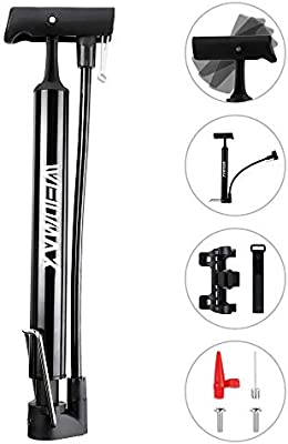 Bike Tire Inflator with Multifunction Ball Needle 120PSI Bicycle Air Pump Automatically Reversible Presta /& Schrader Valves Portable Bike Floor Pump