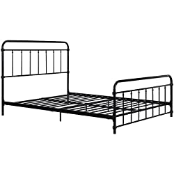 DHP Wallace Metal Bed Frame in Black with Vintage Headboard and Footboard, No Box Spring Required, Sturdy Metal Frame with Slats, Weight Limit 450 lbs, Full Size