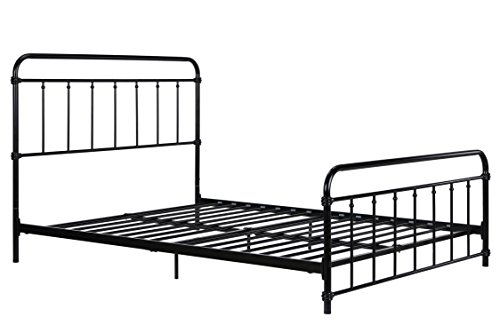 Wallace Metal Bed Frame in Black with Vintage Headboard and Footboard, No Box Spring Required, Sturdy Metal Frame with Slats, Weight Limit 450 lbs, Full Size