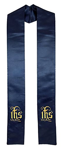 Clergy Stole Embroidered IHS, Deluxe Satin Navy Blue 94