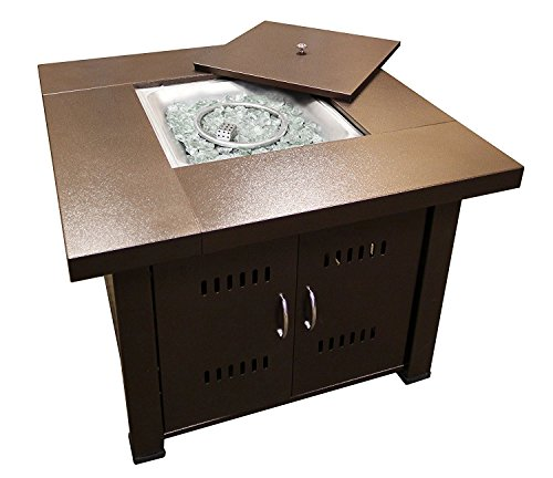 AZ Patio Heaters GS-F-PC Propane Fire Pit, 40,000 BTU, Square, Antique Bronze Finish
