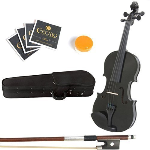 Mendini 16-Inch MA-Black Solid Wood Viola with Case Bow Rosin Bridge and Strings [並行輸入品] B0792ZPWD9