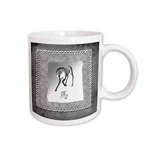 - 3dRose Beverly Turner Chinese New Year Design - Bowing Horse, Chinese New Year, Silver Damask Design - 15oz Mug (mug_167400_2)