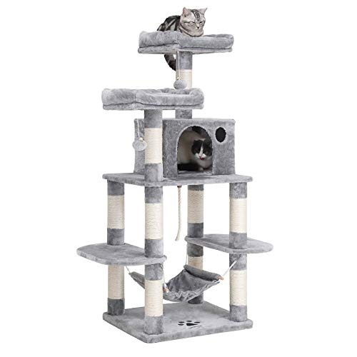 FEANDREA Cat Tree Condo with Scratching Posts Kitty Tower Furniture Pet Play House Bed Light Grey 59