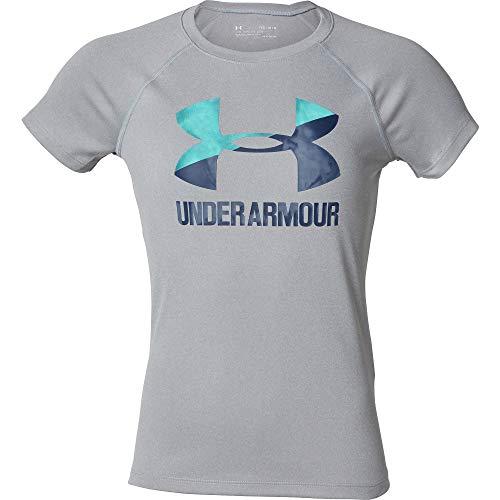 Tee Sleeve Girls Short (Under Armour Girls Big Logo Tee Solid Short Sleeve Shirt, Steel Light Heather (036)/Academy, Youth Large)