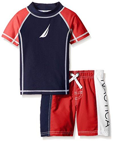 Nautica Little Boys Classic Rash Guard Swim Set, Carmine, 4T