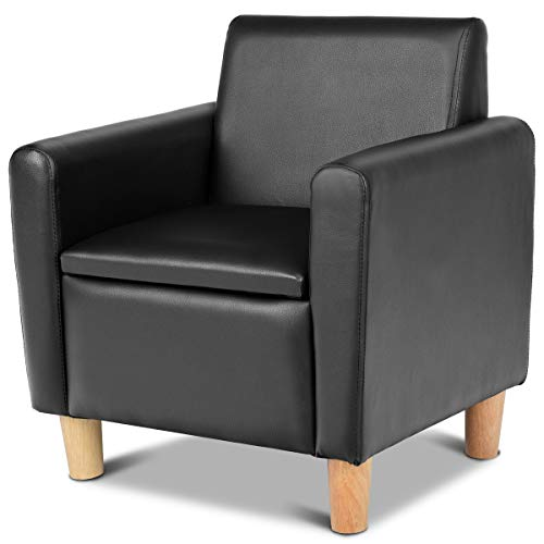 - Costzon Kids Sofa, Upholstered Armrest, Sturdy Wood Construction, Toddler Couch with Storage Box (Single Seat, Black)