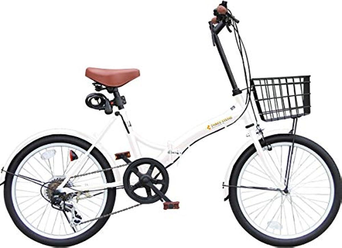 [해외] 접이식 자전거 바구니부 20인치 P-008N 세련된S자 프레임 시마노 외장6 단기어 프론트LED라이트・와이어 그린정 부착 (미니베로/접는 자전거/경쾌차/자전거)