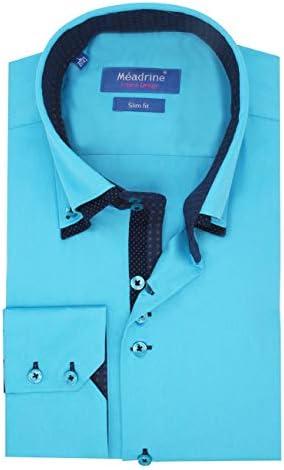 Meadrine - Camisa para hombre, turquesa y estampado turco 520 turquesa S: Amazon.es: Ropa y accesorios