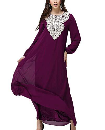 Keephen Vestido Nacional musulmán Manga Larga Cómodo Violeta
