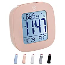 MARATHON CL030058BL Compact Alarm Clock with Temperature and Date - Blue