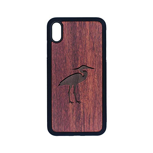 Heron Silhouette - iPhone Xs MAX CASE - Rosewood Premium Slim & Lightweight Traveler Wooden Protective Phone CASE - Unique, Stylish & ECO-Friendly - Designed for iPhone Xs MAX