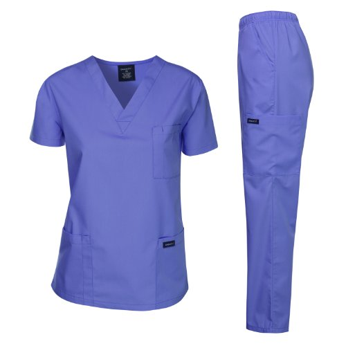 Dagacci Medical Uniform Woman and Man Scrub Set Unisex Medical Scrub Top and Pant, CEIL BLUE, - Blue Unisex Scrub