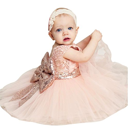 Toddler Pageant Outfits (Summer Clothes for Toddler Girls Blackless Dress Sleeveless Formal Pageant Outfits 6-9 Months Ball Gown (Pink, 80))