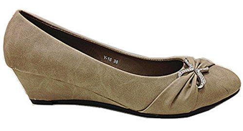 Mujeres botas con zapatos de tacón Y15 con cuña, color marrón
