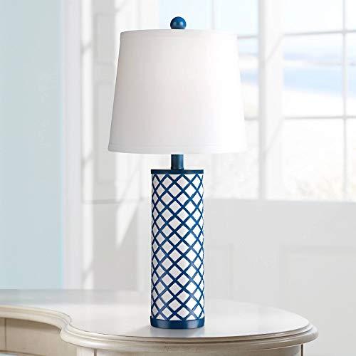 Gisele Modern Table Lamp Blue Lattice Column Diamond Markings White Drum Shade for Kids Room Bedroom Bedside Nightstand ()