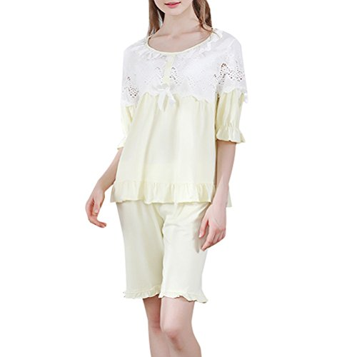 Zhuhaitf Alta calidad Summer Womens Girls Comfortable Cotton Nightgown Pajama Set Sleepwear Yellow