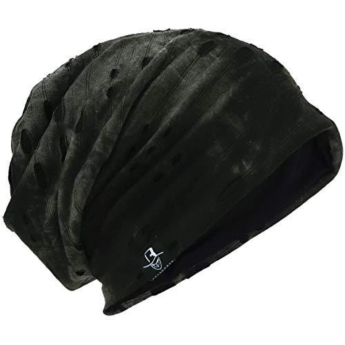 Mens Slouch Hollow Beanie Summer Skullcap B090 (B-Green, Thin Cool)
