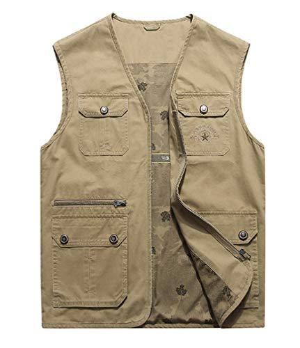 Lavnis Men's Cotton Cargo Vest Casual Active Outdoor Pockets Fishing Safari Travel Vests Jacket Khaki XL